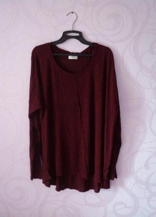 Бордовый свитер, большой размер, удлиненный джемпер, пончо, на...