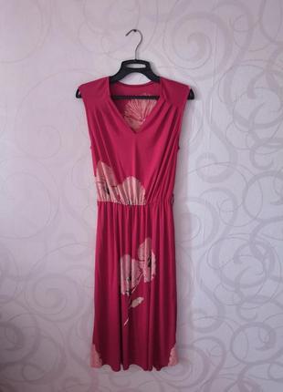 Платье с маками, винтаж, ретро, красное платье-миди, винтажное...