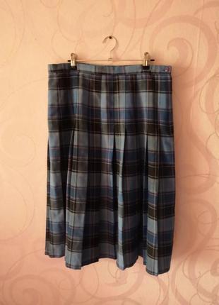 Юбка в клетку, винтаж, плиссированная юбка, большой размер, юб...