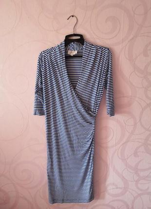 Платье в полоску, платье на осень, мягкое платье с принтом, мо...