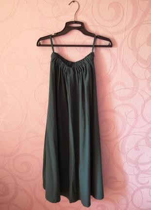 Бирюзовая юбка-макси на резинке, винтаж, длинная юбка цвет мор...