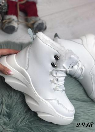 Женские ботинки зимние белые, теплые ботинки, кроссовки зимние...