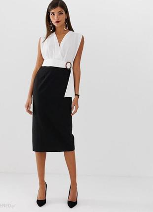 Платье футляр миди asos, 2в1 белая блуза и юбка карандаш