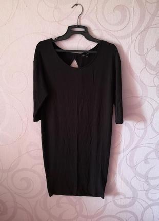 Черное платье с открытой спинкой, черное платье коттон, обтяги...