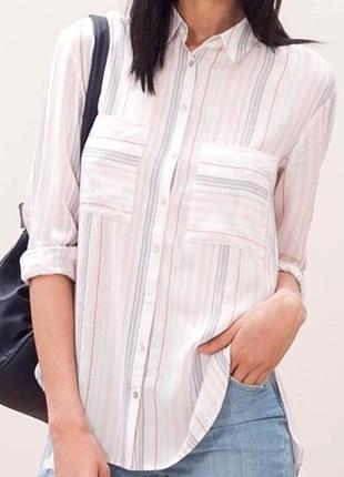 Вискозная полосатая рубашка с длинным рукавом
