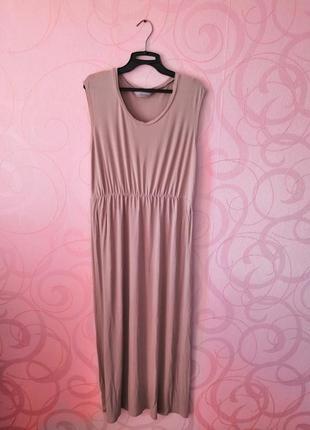 Бежевое платье-макси, длинное платье, свободное платье макси, ...