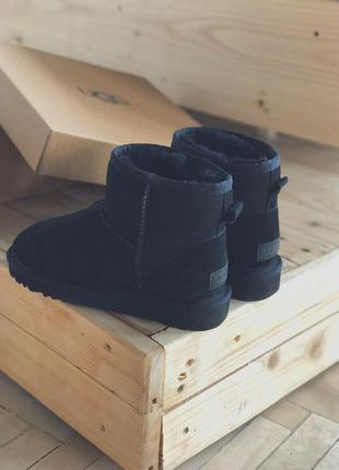 Распродажа! женские зимние сапоги ugg mini black suede с натур...
