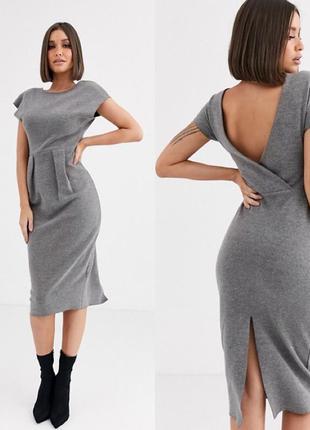 Трикотажное платье футляр с вырезом на спине и разрезом asos, ...