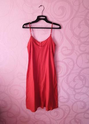 Красное платье, мягкое платье в бельевом стиле, нижнее платье,...