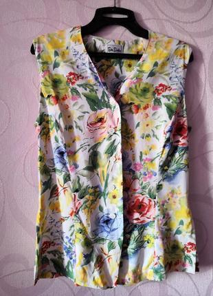 Костюм с цветочным принтом (юбка, топ, пояс), винтаж, ретро, в...