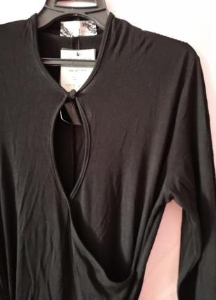 Черное платье на запах, платье на каждый день, платье с декольте