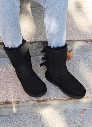 Распродажа! зимние женские сапоги ugg black 2 stripe с натур м...