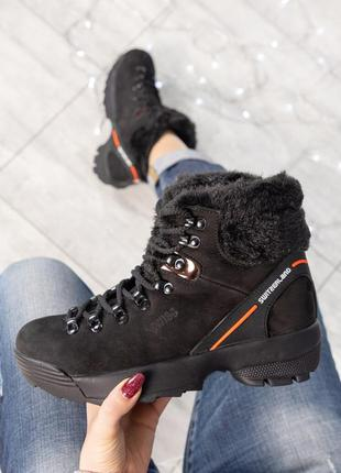 ❤ женские черные зимние ботинки полусапожки ботильоны на шерсти ❤