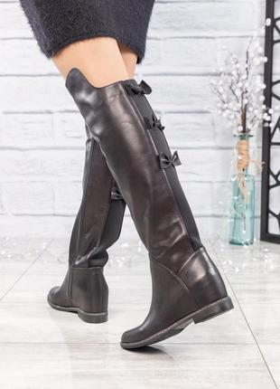 ❤ женские весенние деми кожаные высокие сапоги ботфорты полуса...
