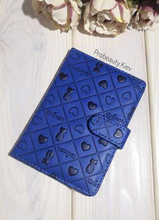 Обложка чехол для паспорта на кнопке blue probeauty