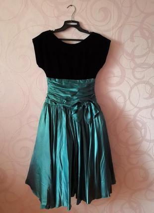 Винтажное платье, бархат, пышная юбка, винтаж, ретро, выпускно...