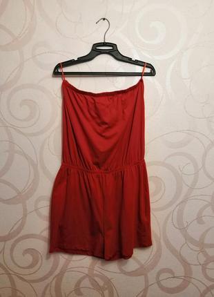 Красный комбинезон, комбинезон с шортами, яркий ромпер, женски...