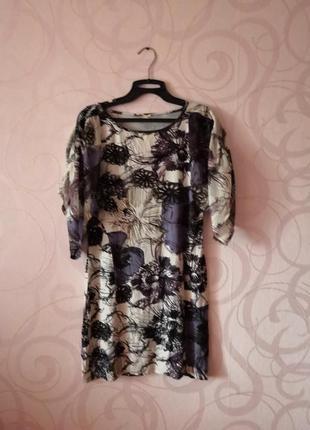 Короткое платье с цветами, туника на каждый день, мягкое плать...
