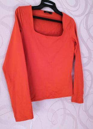 Красный топ-лонгслив, короткий топ с длинным рукавом, футболка...