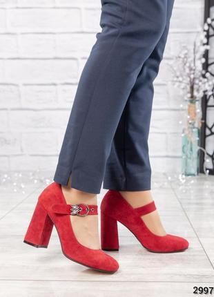 ❤ женские красные замшевые туфли  на ремешке ❤
