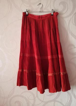 Яркая красная юбка, винтаж, ретро, юбка-миди этно-стиль, юбка ...