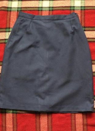Синяя юбка, винтаж, ретро, строгая юбка в офис, юбка в школу, ...