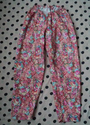 Брюки с цветочным принтом на каждый день, летние яркие брюки, ...