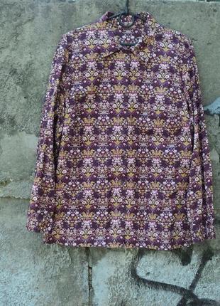 Фиолетовая рубашка с принтом с цветами, рубашка на 1 сентября,...
