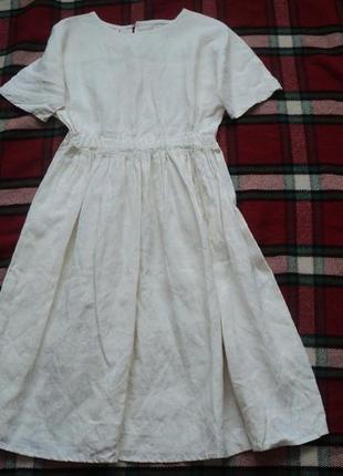 Льняное платье в стиле бохо, легкое летнее платье из льна, шик...