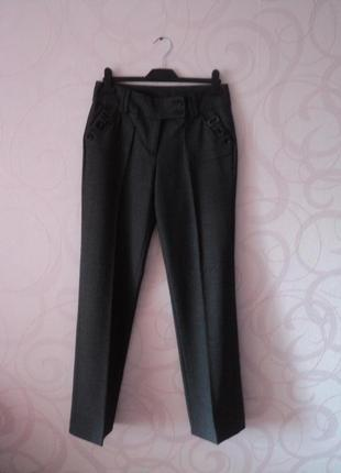 Темно-серые брюки в офис, деловые брюки, классические брюки со...
