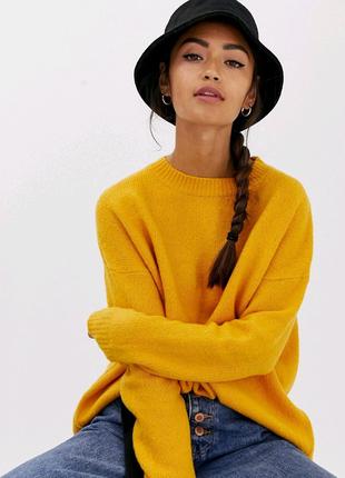 Яркий горчичный свитер s