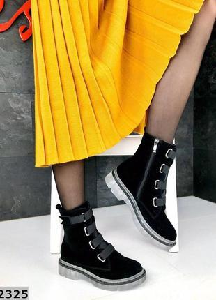 36-41. натуральная замша. демисезонные замшевые ботинки с деко...