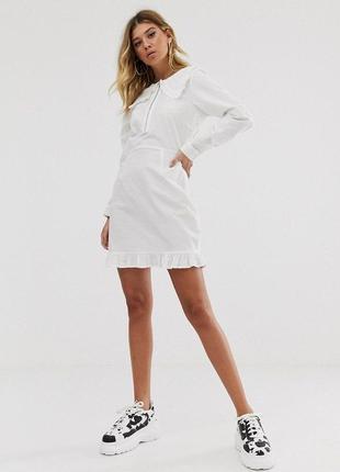 Белое хлопковое платье рубашка с воротником asos, платье трапе...