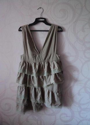 Бежевое платье-туника с оборками, летняя туника для пляжа, пля...
