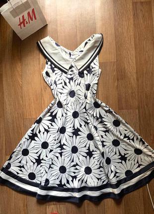 Летнее платье сарафан цветочный принт с воротником