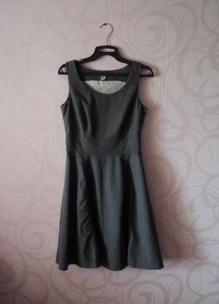 Серое платье для офиса, мягкое платье в офис, деловое платье, ...