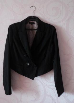 Черный укороченный жакет, короткий пиджак на каждый день, двуб...