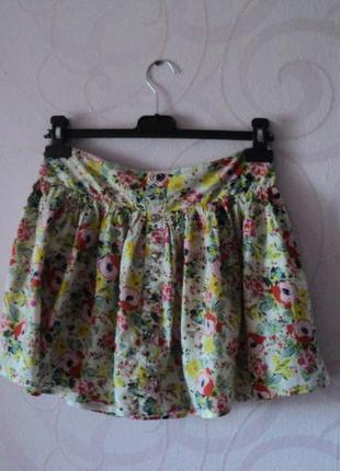Мини-юбка с маками, короткая юбка с цветочным принтом на лето,...