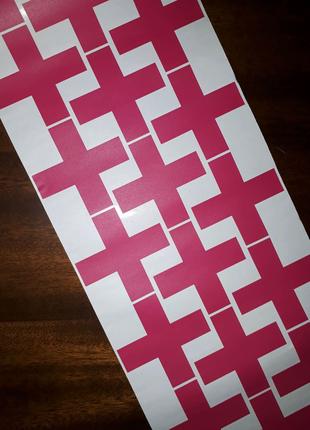 Декор настінний хрестики розові дизайн декоративні наклейки рожев