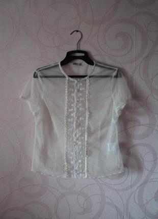 Прозрачный топ-футболка на лето, летний топ с вышивкой, нежная...