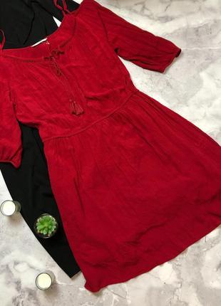 Новое натуральное красивое красное платье