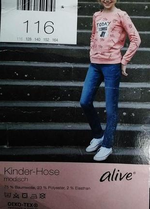 Мягкие джинсы для вашей модницы от alive, германия, рост 116