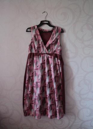Платье с принтом в листочки, летнее платье на каждый день, роз...