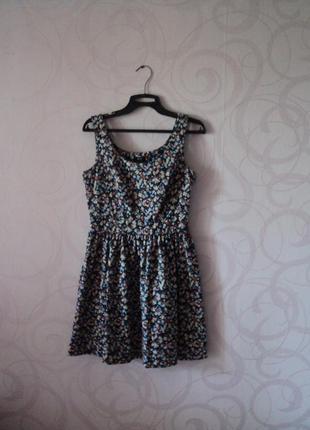Синее платье с цветами, ретро стиль, летнее платье на каждый д...