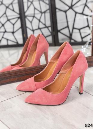 ❤ женские розовые замшевые туфли  лодочки ❤