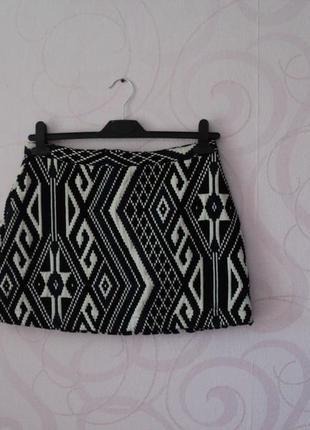 Плотная юбка с этно-принтом, короткая юбка на осень-весну, мин...