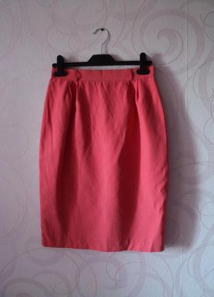 Коралловая юбка-миди, винтаж, ретро, юбка-тюльпан, яркая юбка-...