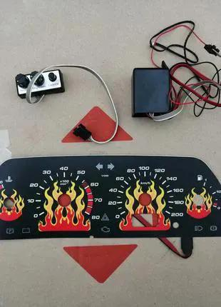 Вставка в щиток приборов ВАЗ 2110, живое пламя, чёрная (VDO 1 окн
