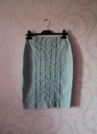 Голубая юбка с полосками, облегающая юбка, юбка-резинка, юбка ...