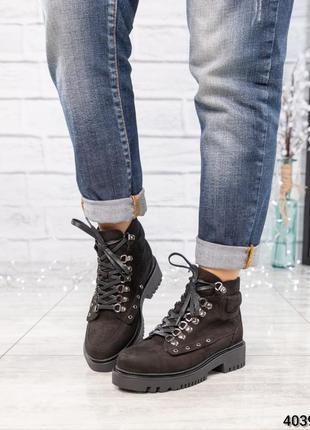 Акция ❤ женские черные весенние деми кожаные ботинки  ботильон...